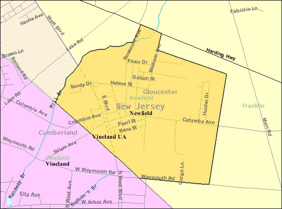 Newfield, NJ Map